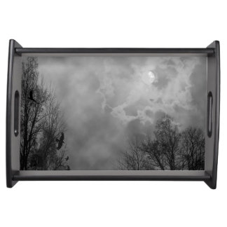 Haunted Halloween Sky with Ravens Serving Tray