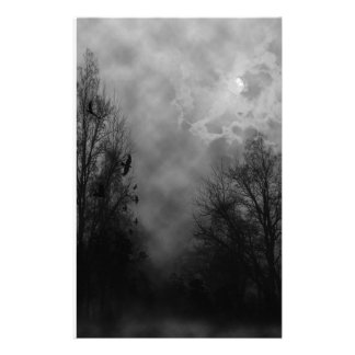 Haunted Halloween Sky with Ravens Stationery