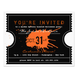 Haunted Halloween Ticket Party Invitation