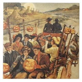 Haunted Hayride Jack O' Lantern Pumpkin Moon Tile
