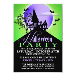 Haunted Hill Green Halloween Party Invitations