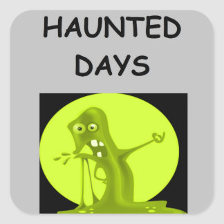 haunted holidays square stickers