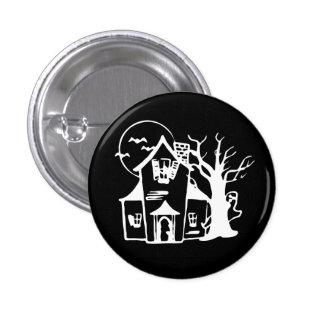 HAUNTED HOUSE 1 INCH ROUND BUTTON