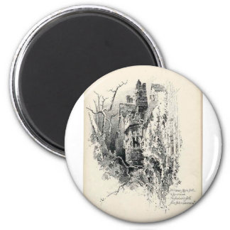 Haunted House 2 Inch Round Magnet