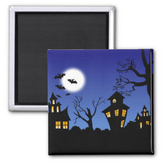 Haunted House 2 Inch Square Magnet
