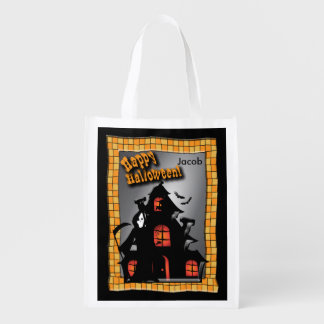 Haunted House and a Halloween Reaper Grocery Bag