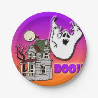 Haunted house and ghost paper plates. paper plate