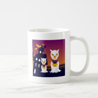 Haunted House and Halloween dog ghosts Coffee Mug