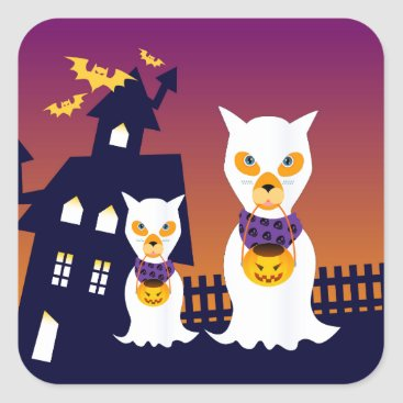 Halloween Themed Haunted House and Halloween dog ghosts Square Sticker
