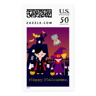 Haunted House and Halloween dracula and witch kids Postage