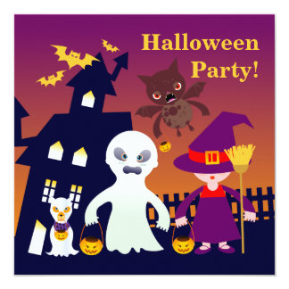 Haunted House and Halloween ghost and witch kid Card