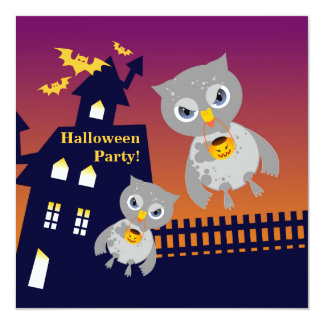 Haunted House and Halloween owls Card