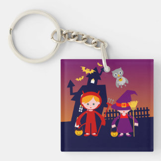Haunted House and Halloween red devil and witch Keychain