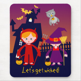 Haunted House and Halloween red devil and witch Mouse Pad