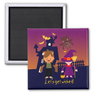 Haunted House and Halloween witch and werewolf Magnet
