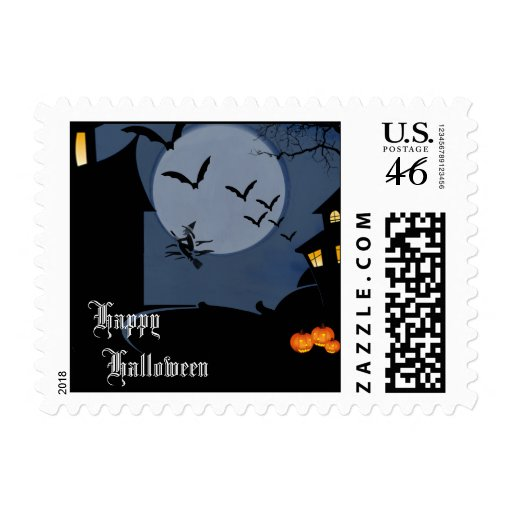 Haunted House and Witch Halloween Postage