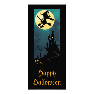 Haunted House and Witch Silhouette Bookmarks Rack Card