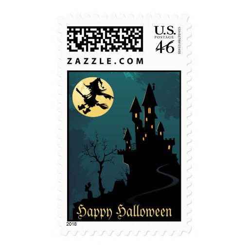 Haunted House and Witch Silhouette Postage