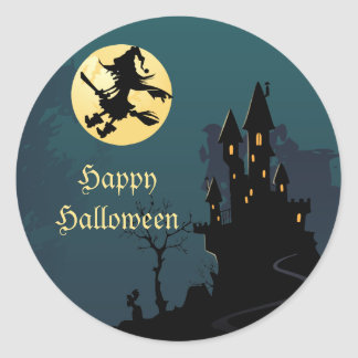 Haunted House and Witch Silhouette Classic Round Sticker