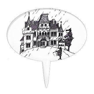 Haunted House B & W Sketch Cake Toppers