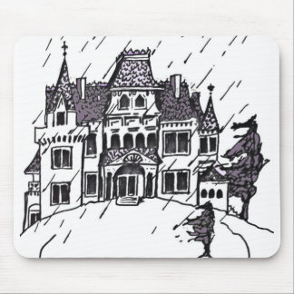 Haunted House B & W Sketch Mouse Pad