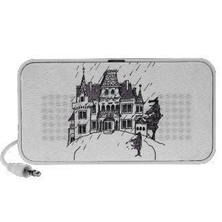 Haunted House B & W Sketch PC Speakers