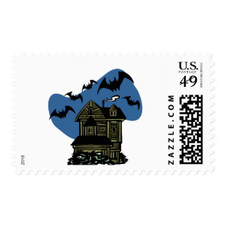 Haunted House Bats Postage Stamp