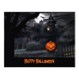 Haunted House Bats Pumpkin Halloween Invitation