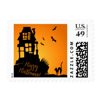 Haunted House Black Cat Bats Halloween Postage