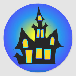 Haunted House Blue Classic Round Sticker