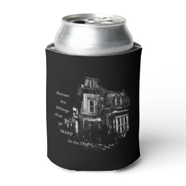 Halloween Themed Haunted House Can Cooler