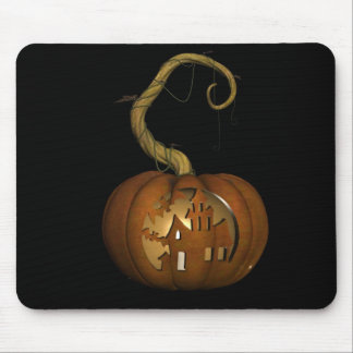 Haunted House Carved Pumpkin Mousepad
