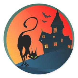 HAUNTED HOUSE & CAT by SHARON SHARPE sticker