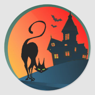 HAUNTED HOUSE & CAT by SHARON SHARPE Classic Round Sticker
