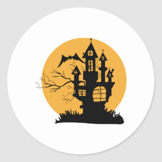 Haunted House Classic Round Sticker