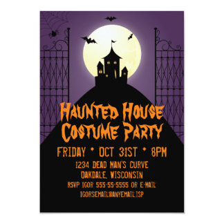 Haunted House Costume Party Halloween 5x7 Paper Invitation Card