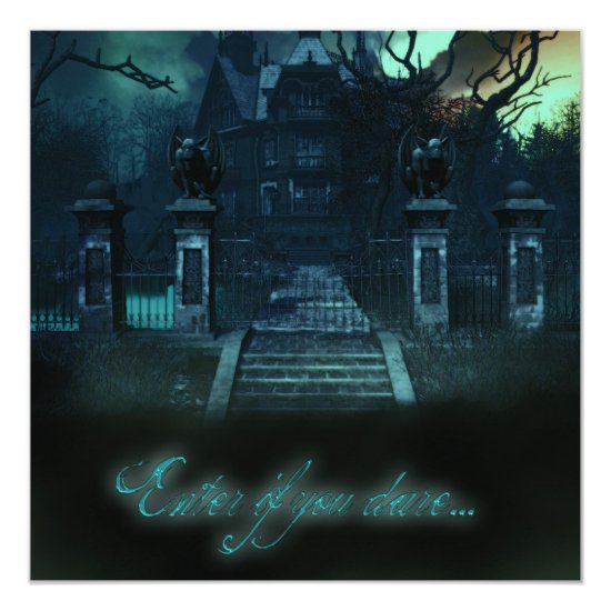 Haunted House Creepy Halloween Invitations