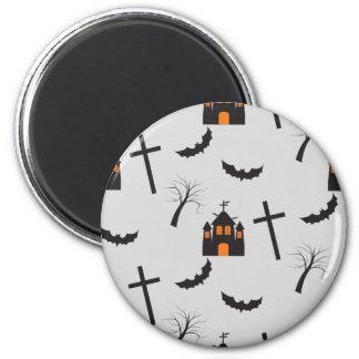 Haunted house, dead tree, bat, cross pattern magnet