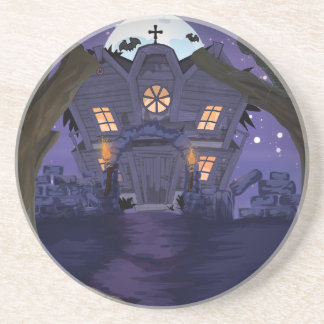 haunted house drink coaster