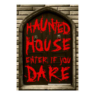 Haunted House Enter If You Dare Scary Halloween Poster