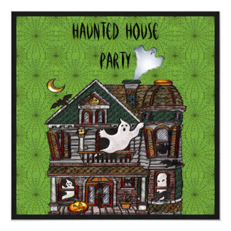 Haunted House Faux Jewels Print Party Invites