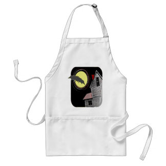 Haunted House Full Moon and Bat Adult Apron