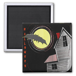 Haunted House Full Moon and Bat Magnet