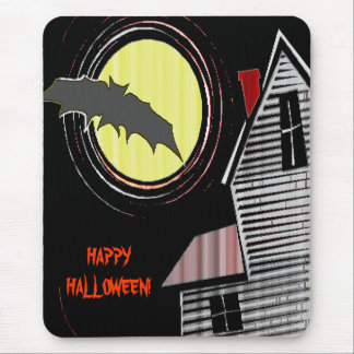 Haunted House Full Moon and Bat Mouse Pad