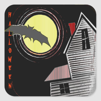 Haunted House Full Moon and Bat Square Stickers