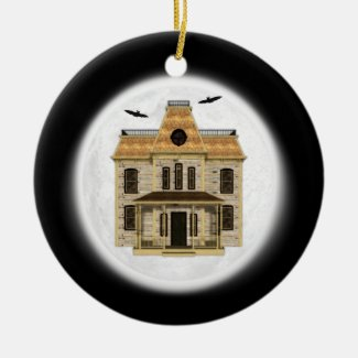 Haunted House, Full Moon Halloween Ornament