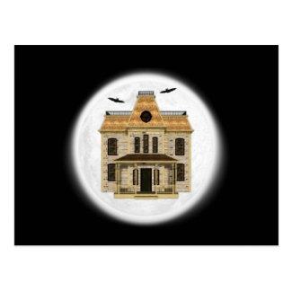 Haunted House, Full Moon Halloween Postcard
