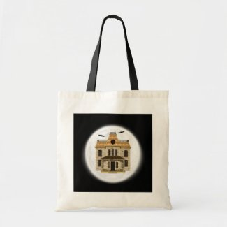 Haunted House, Full Moon Halloween Tote