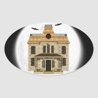 Haunted House, Full Moon Stickers for Halloween