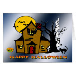 Haunted House Ghost Cat Card